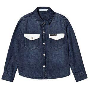 Image of Calvin Klein Jeans Dark Wash Denim Shirt 4 years