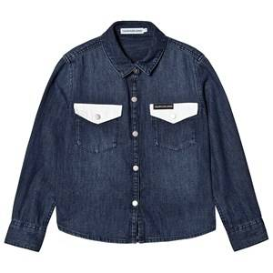 Image of Calvin Klein Jeans Dark Wash Denim Shirt 6 years