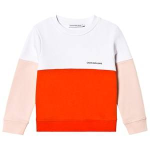 Image of Calvin Klein Jeans White, Pink and Red Color Block Logo Sweatshirt 10 years