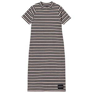 Image of Calvin Klein Jeans Black and Pale Pink Stripe Maxi Dress 8 years