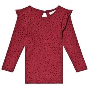 Image of Anve For The Minors Burgundy Top Tiny Dots 7-8 Years