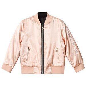 Image of Calvin Klein Jeans Pink Satin Reversible into Black Bomber Jacket 4 years