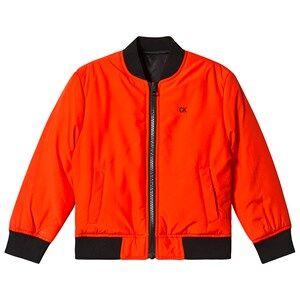 Image of Calvin Klein Jeans Orange Reversible into Black Bomber Jacket 6 years