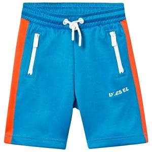 Diesel Blue and Red Branded Tricot Shorts 8 years