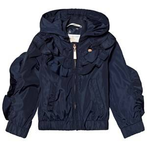 Le Chic Navy Ruffle Front Hooded Short Coat 128 (7-8 years)