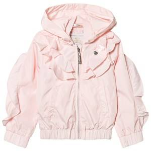 Image of Le Chic Pink Ruffle Front Hooded Short Coat 128 (7-8 years)