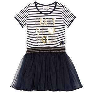 Le Chic Navy and White Stripe Tulle Dress 104 (3-4 years)