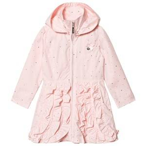 Image of Le Chic Pink and Gold Ruffle Front Hooded Coat Raincoats