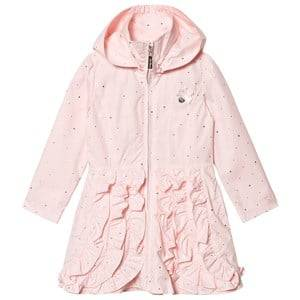 Le Chic Pink and Gold Ruffle Front Hooded Coat Raincoats