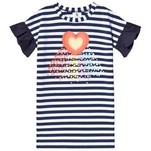 Image of Hootkid Navy Stripe Rainbow Heart Frill Sleeve T Shirt Dress 7 years