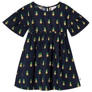 Image of Hootkid Navy Pineapple Print Gathered Sleeve Dress 1 years