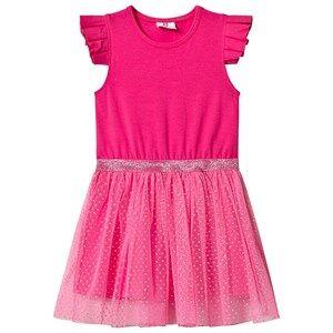 Image of Hootkid Pink Frill Sleeve Dotty Net Skirt Dress 2 years