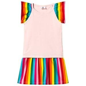 Image of Hootkid Pink Top Rainbow Stripe Frill Sleeve Layer Dress 8 years