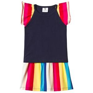 Image of Hootkid Navy Top Rainbow Stripe Frill Sleeve Layer Dress 1 years