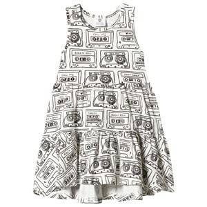 Image of Hootkid Cassette Print Tiered Dress 2 years