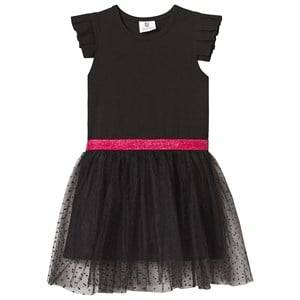 Image of Hootkid Black Frill Sleeve Dotty Net Skirt Dress 4 years