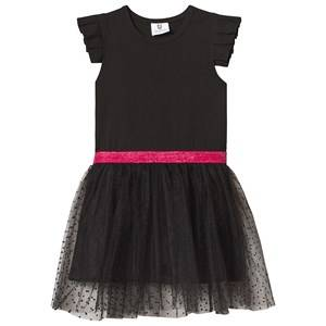 Image of Hootkid Black Frill Sleeve Dotty Net Skirt Dress 8 years