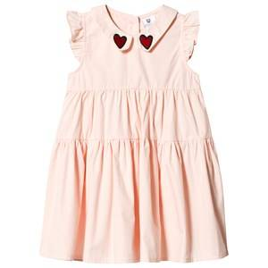 Image of Hootkid Pink Tiered Frill Embroidered Collar Frill Sleeve Dress 12 years