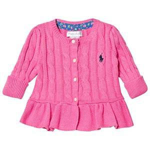 Image of Ralph Lauren Pink Cable Knit Peplum Cardigan 3 months