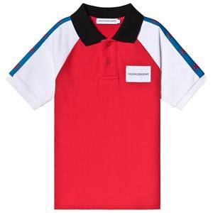 Calvin Klein Jeans Red and White Stars Pique Polo 6 years