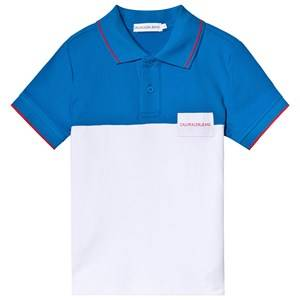 Image of Calvin Klein Jeans White and Blue Pique Polo 10 years
