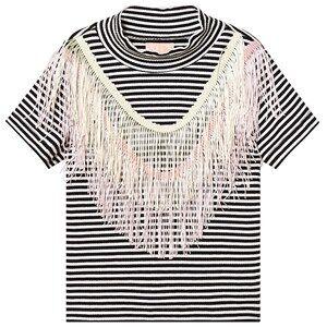 Wauw Capow Luna Fringe Top Black/White Striped 3-4 years