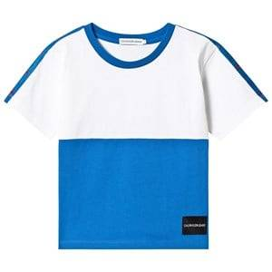 Image of Calvin Klein Jeans White and Blue Oversize Tee 4 years