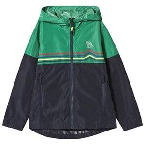 Paul Smith Junior Navy and Green Stripe Zip Through Hooded Windbreaker with Pocket and Zebra Detail 12 years