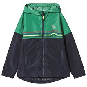 Paul Smith Junior Navy and Green Stripe Zip Through Hooded Windbreaker with Pocket and Zebra Detail 14 years