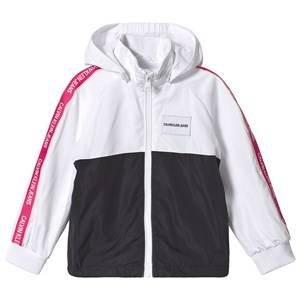 Image of Calvin Klein Jeans White and Black Tape Logo Windbreaker 8 years