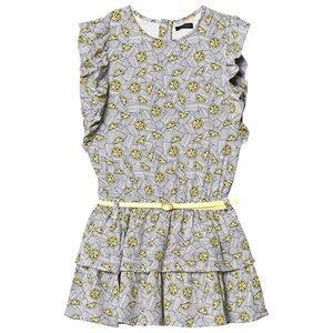IKKS Lemon Print Frill Sleeve Gathered Waist Tiered Dress 8 years