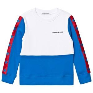 Image of Calvin Klein Jeans Blue Colour Block Stars Sweatshirt 14 years