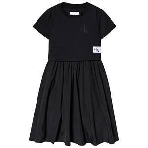 Image of Calvin Klein Jeans Black 2 in 1 Mesh Midi Dress with Top 4 years