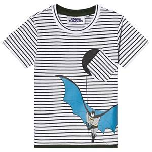 Fabric Flavours Batman Stripe Tee White 7-8 years