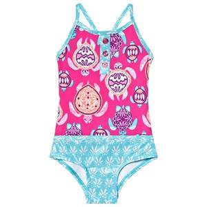 Image of Hatley Pretty Sea Turtles Colorblock Swimsuit Pink and Blue 2 years
