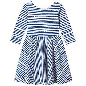 Image of Noe & Zoe Berlin Blue Stripes Print Long Sleeve Dress 2 years