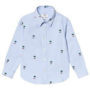 Cyrillus Blue Palm Tree Embroidered Shirt 4 years