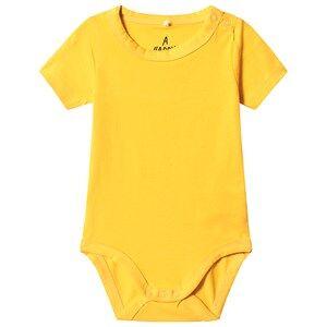 A Happy Brand Short Sleeve Baby Body Yellow 62/68 cm