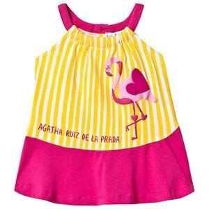 Agatha Ruiz de la Prada Yellow Stripe and Pink Flamingo Sun Dress 9 months