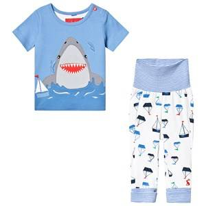 Tom Joule Blue Shark Applique Top and Trouser Set 3-6 months