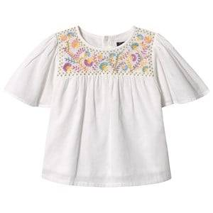 Image of Velveteen White Floral Embroidered Flutter Sleeve Top 6 years