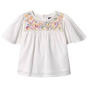 Image of Velveteen White Floral Embroidered Flutter Sleeve Top 8 years