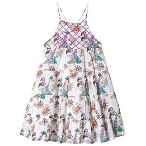 Image of Velveteen White Floral Print Tiered Dress 3 years