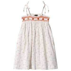 Image of Velveteen White Floral and Gold Stripe Tie Shoulder Smocked Embroidered Dress 10 years