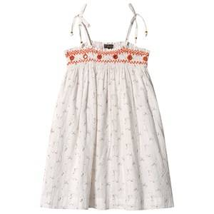 Image of Velveteen White Floral and Gold Stripe Tie Shoulder Smocked Embroidered Dress 12 years