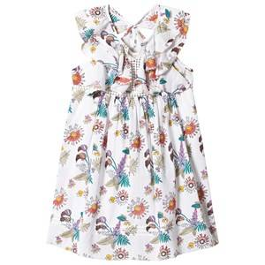 Image of Velveteen White Floral Print Ruffle Dress 3 years