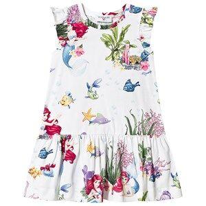 Image of Monnalisa White The Little Mermaid Print Jersey Dress 3 years