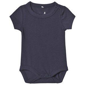 A Happy Brand Short Sleeve Baby Body Navy 50/56 cm