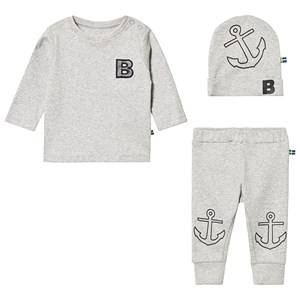 The BRAND Tee and Pant Baby Set Grey Melange 80/86 cm