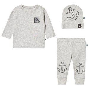 The BRAND Tee and Pant Baby Set Grey Melange 80/86 cm